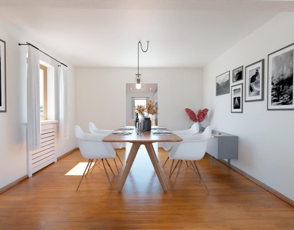 Gemütlicher Essbereich dank Homestaging-Digitalretusche